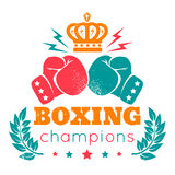 Logo for boxing. Vintage logo for boxing with gloves and crown Stock Photo