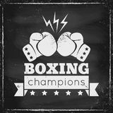 Logo for a boxing. Vintage logo for a boxing on grunge background Royalty Free Stock Photo