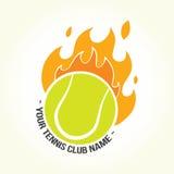 Logo brûlant de balle de tennis Photographie stock libre de droits