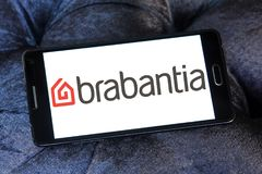 Brabantia company logo. Logo of Brabantia company on samsung mobile. Brabantia is a privately owned Dutch company which manufactures items for the home such as royalty free stock photo