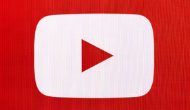 The logo of the brand. Chisinau, Moldova November 16, 2016: the logo of the brand `Youtube` website on computer screen  YouTube is a video-sharing website by Royalty Free Stock Image