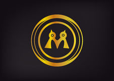 Gold logo company brand vector Royalty Free Stock Photos