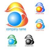 Logo, brand och is, vatten och flamma i olika färger vektor illustrationer