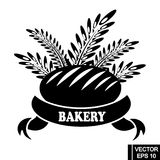 Logo with bread. Bakery products label. Vector icon of bread bun bagel, wheat ears, ribbon with text. Element for bakery shop, bread emblem,logo design, etc stock illustration