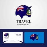 Logo BRITANNIQUE de drapeau des Îles Vierges de voyage et design de carte de visite illustration stock