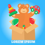 Logo with brown teddy bear box car pyramid and Royalty Free Stock Image