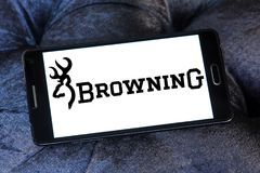 Browning Arms Company logo. Logo of Browning Arms Company on samsung mobile. Browning is an American maker of firearms and fishing gear stock image