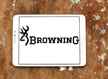 Browning Arms Company logo. Logo of Browning Arms Company on samsung tablet. Browning is an American maker of firearms and fishing gear stock image