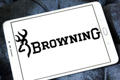Browning Arms Company logo. Logo of Browning Arms Company on samsung tablet. Browning is an American maker of firearms and fishing gear stock photo