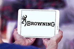 Browning Arms Company logo. Logo of Browning Arms Company on samsung tablet. Browning is an American maker of firearms and fishing gear royalty free stock photo