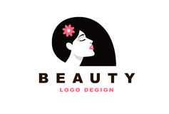 Logo brunetki dziewczyna, fryzjer męski i moda, ilustracja wektor