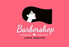 Logo brunette girl, Barber and fashion Royalty Free Stock Photo
