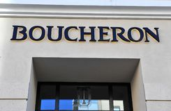 Logo of Bucheron flagship store. MOSCOW, RUSSIA - MAY 02: Logo of Bucheron flagship store, Moscow on May 2, 2018 Stock Photography