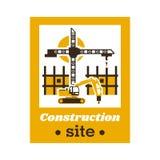 Logo budowa Duży żuraw, niedokończonego budynku pracujący ekskawator również zwrócić corel ilustracji wektora Mieszkanie styl ilustracja wektor