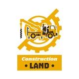Logo budowy wyposażenie Kula ziemska, ziemia, przekładnia Wiertnicza ciężarówka Ekskawacja ziemia również zwrócić corel ilustracj ilustracja wektor