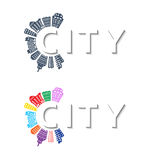Logo with buildings and city abstract background. Vector stock illustration