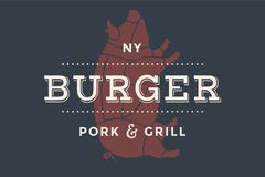 Logo of Burger bar. With grill symbols, fork, text Burger, Pork, Grill. Brand graphic template for meat business - restaurant, bar, cafe, food court, design Royalty Free Stock Images