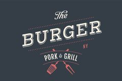 Logo of Burger bar. With grill symbols, fork, text Burger, Pork, Grill. Brand graphic template for meat business - restaurant, bar, cafe, food court, design Stock Images