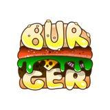 Logo Burger Bolo do sésamo para o café e o takeaway do fast food Imagem de Stock Royalty Free