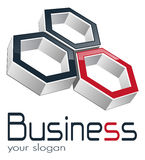 Logo business. Logo design for business three hexagons Royalty Free Stock Image