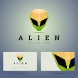 Logo and business card template with polygonal vector illustration