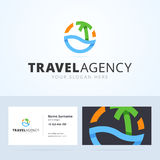 Logo and business card template for travel agency. Royalty Free Stock Photos