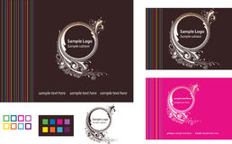 Logo with Business Card and Web Template. Vector illustration logo with business card template, color palette, and web design home page layout Stock Photos