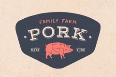 Logo of Butcher meat shop. With icon pig, text Pork Meat Shop. Logo graphic template for meat business - shop, market, restaurant or design - menu, poster Royalty Free Stock Photo