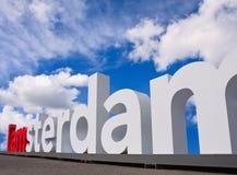 Logo célèbre d'Amsterdam sur la place de musée, Amsterdam, Netherland Image libre de droits