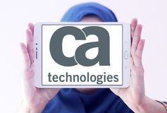CA Technologies logo. Logo of CA Technologies on samsung tablet holded by arab muslim woman. CA Technologies is an American multinational publicly held Stock Photography