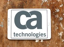 CA Technologies logo. Logo of CA Technologies on samsung tablet on wooden background. CA Technologies is an American multinational publicly held corporation Royalty Free Stock Images