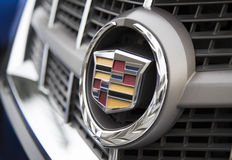 Logo of Cadillac on the car front, taken within a test drive Stock Images