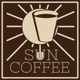 Logo of cafe with sun and glass royalty free illustration