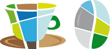 Logo coffee icon and beans Stock Images