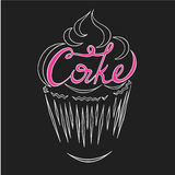 Logo cake. Contour of the cake with the inscription of the cake inside Stock Photography
