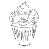 Logo cake. Contour of the cake with the inscription of the cake inside Stock Image