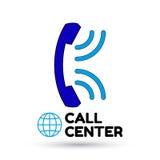 Logo Call Center Globo, microteléfono del vintage, ondas acústicas Vector plano Fotografía de archivo