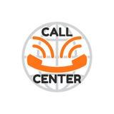 Logo Call Center, parecer sonrisa Microteléfono viejo anaranjado del teléfono Imagenes de archivo