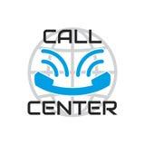 Logo Call Center, parecer sonrisa Microteléfono viejo azul del teléfono Fotografía de archivo