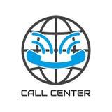 Logo Call Center, parecer sonrisa Teléfono de la comunicación de la ayuda del icono Imágenes de archivo libres de regalías