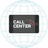 Logo Call Center Smartphone, inscripción elegante, ondas acústicas Teléfono horizontal Fotografía de archivo libre de regalías