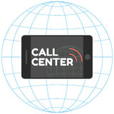 Logo Call Center. Smartphone, stylish inscription, sound waves. Horizontal phone Royalty Free Stock Photography