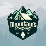 Logo campant de montagnes de vecteur Illustration de Vecteur