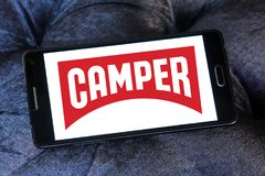 Camper fashion brand logo. Logo of Camper fashion brand on samsung mobile. Camper is a footwear company with headquarters in Mallorca, Spain royalty free stock photography