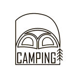 Logo for the camping. Tent emblem with a flag stock illustration