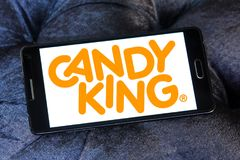 Candyking company logo. Logo of Candyking company on samsung mobile. Candyking is a Swedish company that markets pick and mix confectionery royalty free stock photos