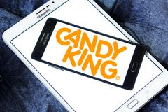 Candyking company logo. Logo of Candyking company on samsung mobile. Candyking is a Swedish company that markets pick and mix confectionery royalty free stock images