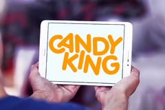Candyking company logo. Logo of Candyking company on samsung tablet. Candyking is a Swedish company that markets pick and mix confectionery royalty free stock photo