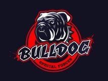 Logo capo del bulldog, emblema su fondo scuro Fotografia Stock Libera da Diritti