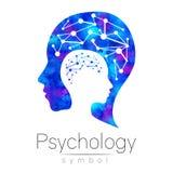 Logo capo moderno del segno di psicologia Essere umano di profilo logotype Stile creativo Simbolo dentro Concetto di progetto Soc royalty illustrazione gratis